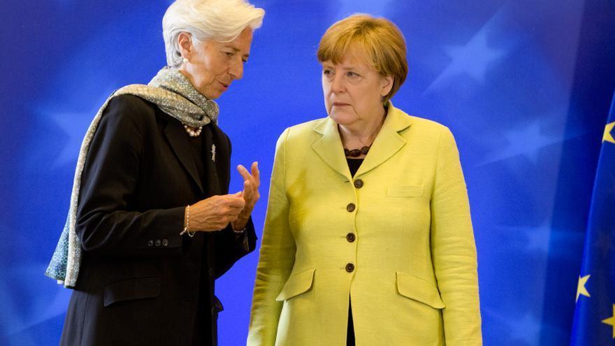 La presidenta del BCE, Christine Lagarde, y la canciller alemana, Angela Merkel.