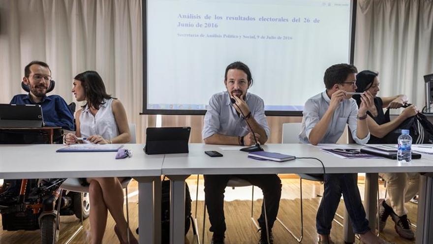 Pablo Iglesias y los principales miembros de la dirección de Podemos.