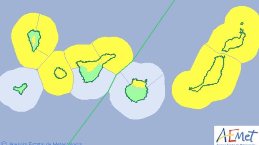 Mapa correspondiente a los de los distintos avisos amarillos para Canarias este jueves
