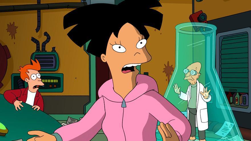Fry, Amy Wong y el Profesor Hubert Farnsworth en 'Futurama'