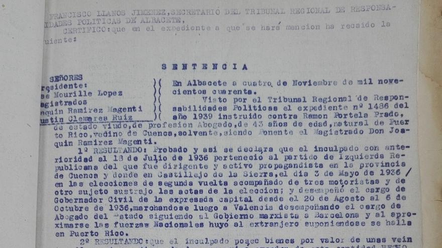 Sentencia contra Ramón Portela Prado, abogado, vecino de Cuenca y perteneciente a Izquierda Republicana, acusado de sustracción de actas de las elecciones de 1936 por el Tribunal Regional de Responsabilidades Políticas