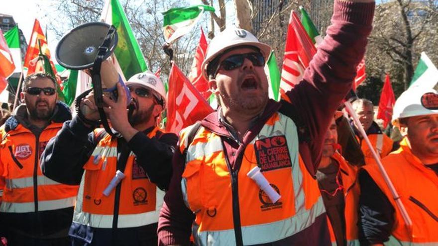 Protesta de los mineros de Aguablanca