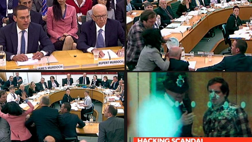 Asalto a Rupert Murdoch en directo