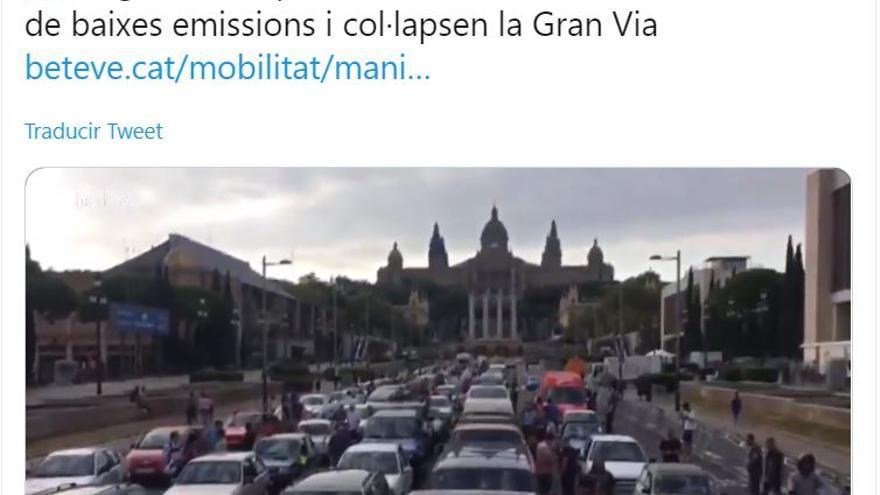 Imagen de la manifestación de este sábado contra la zona de bajas emisiones de Barcelona