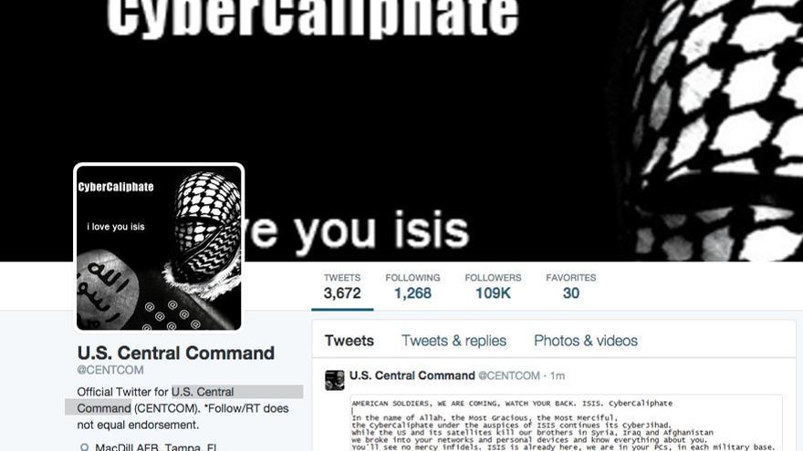 """Los hackers han colocado una imagen del """"Cibercalifato"""" sobre la cuenta de Centcom."""