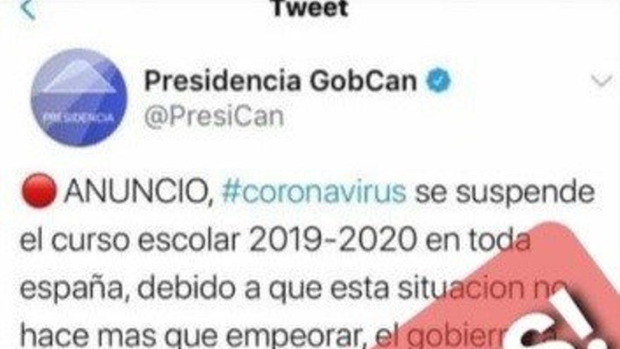 Mensaje difundido por Educación en Canarias desmintiendo el bulo de la suspensión del curso escolar