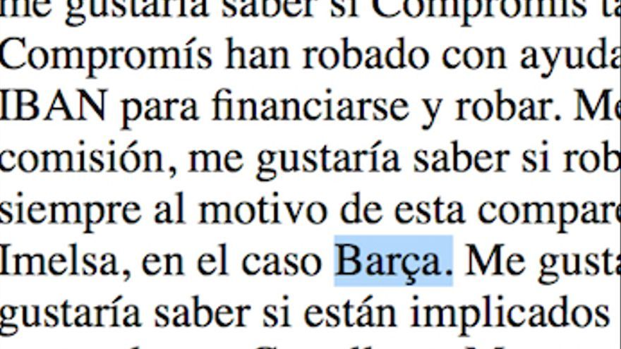 El diario de sesiones del Senado cambia el 'caso Emarsa' por el 'caso Barça'.