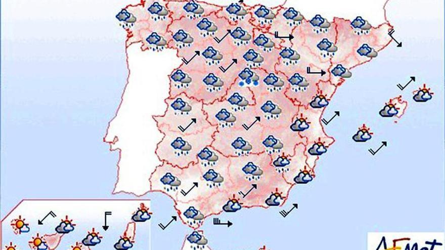 Precipitaciones localmente fuertes o persistentes en Galicia y Cantábrico