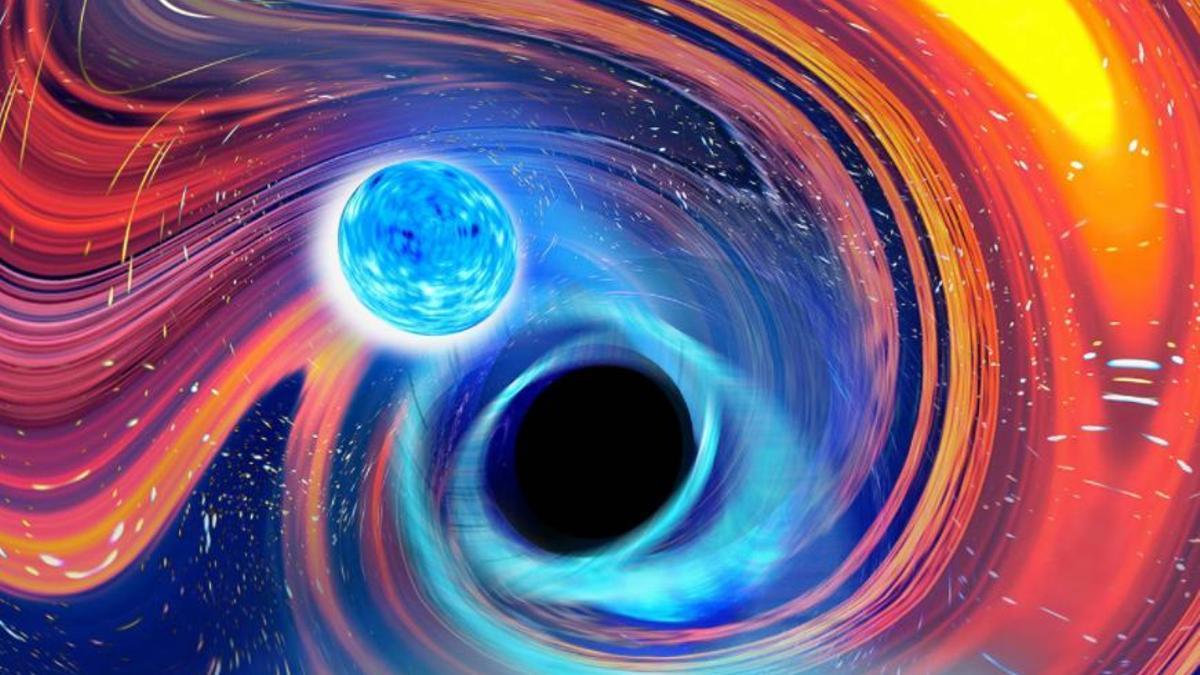 Ilustración inspirada en un evento de fusión de un agujero negro y una estrella de neutrones