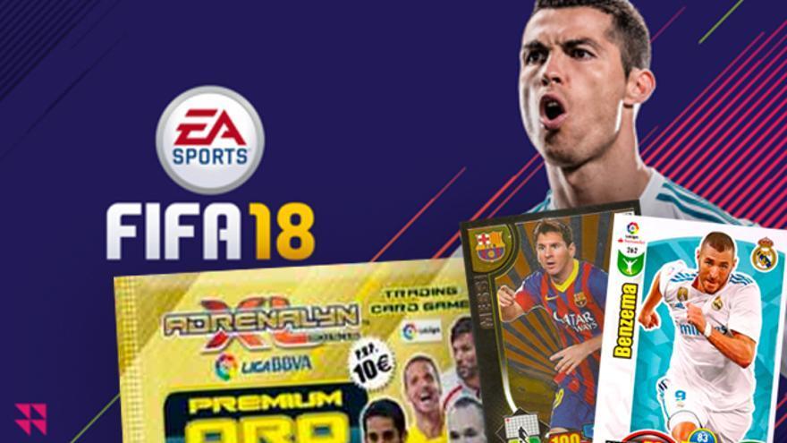 Carátula del FIFA 2018 y cromos de la colección Adrenalyne de Panini, que vende sobres a 10 euros.