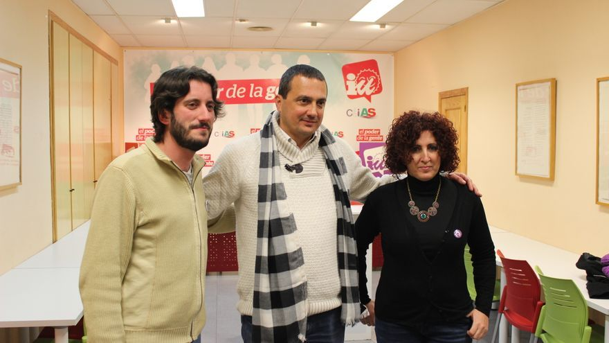 Víctor Egío, José Antonio Pujante y Candi Marín, tras el proceso de primarias de IU-V Región de Murcia