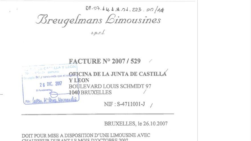 Factura de alquiler de limusina en Bruselas
