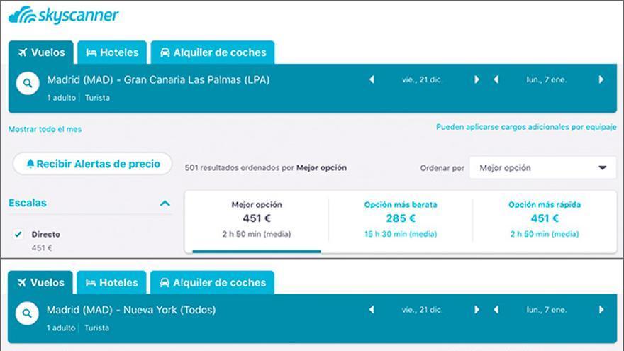 Precios de vuelos en la web de Skyscanner entre Madrid con Gran Canaria, Nueva York y Moscú para Navidad