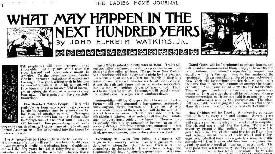 Artículo '¿Qué podía pasar en los próximos cien años?' (Foto: Imgur)