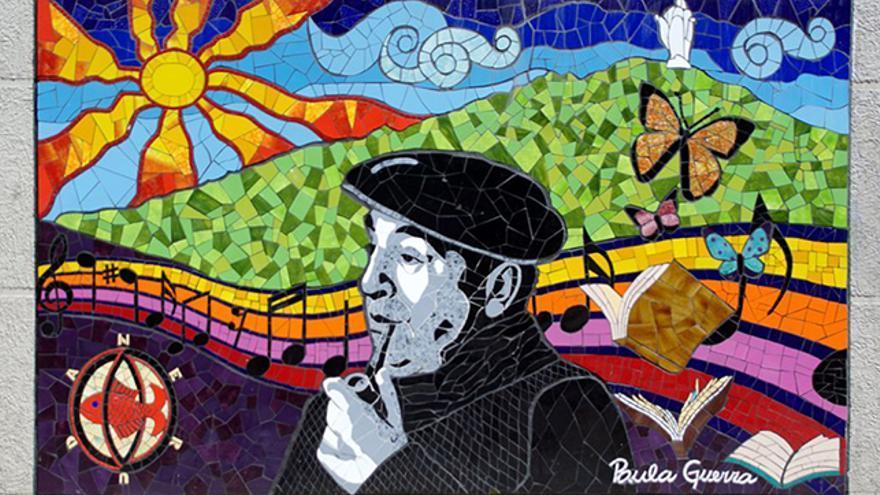 Mosaico de Paula Guerra sobre Pablo Neruda en Valparaíso, Chile.