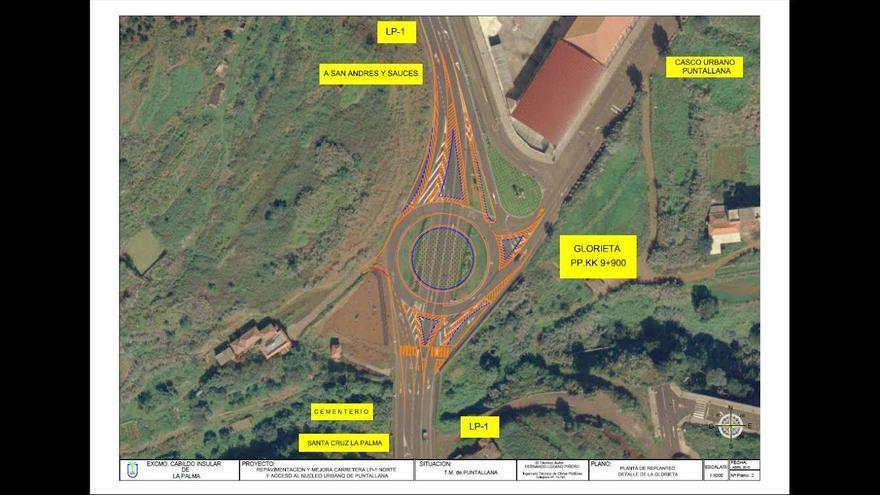 La glorieta mejorará la seguridad vial en el acceso al casco urbano de Puntallana.