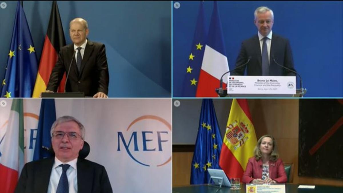 Los cuatro ministros de Finanzas de Alemania, Francia, Italia y España.