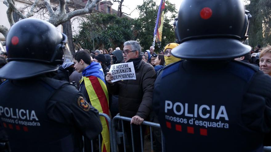 Protesta independentista en el parque del Parlament