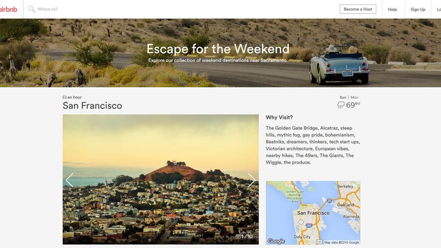 Imagen de la web de Airbnb promocionando San Francisco como destino turístico.