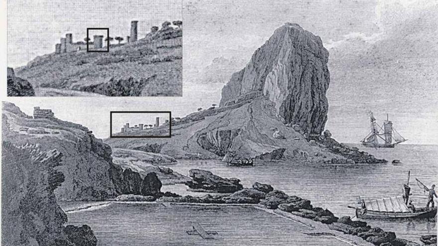 El célebre grabado de Laborde, de 1806, que reproduce el antiguo poblado medieval y sus torres.