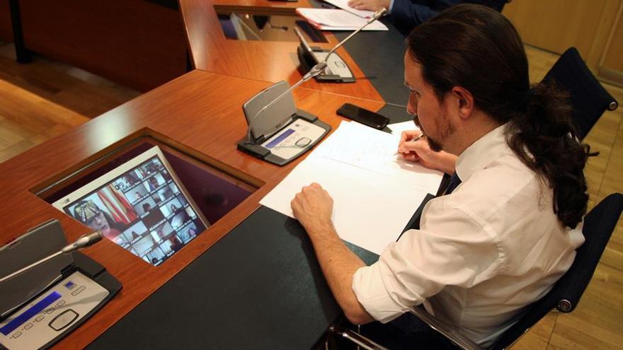 El vicepresidente de Derechos Sociales y para la Agenda 2030, Pablo Iglesias, durante el Consejo Interterritorial que se celebro este viernes de forma virtual.