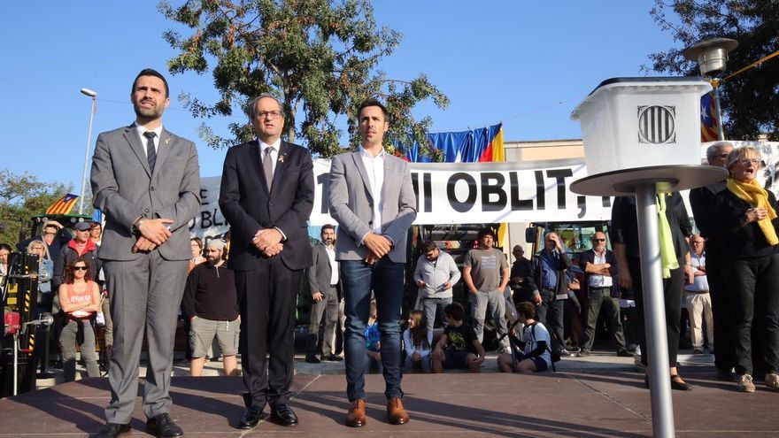 Quim Torra Presidente de la Generalitat Catalana, anima a los violentos del CDR a que aprieten, hacéis bien apretad.... Roger-Torrent-Torra-Julia-Puigtio_EDIIMA20181001_0113_19