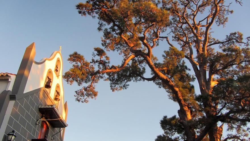 En la imagen, El Pino de la Virgen y la ermita.