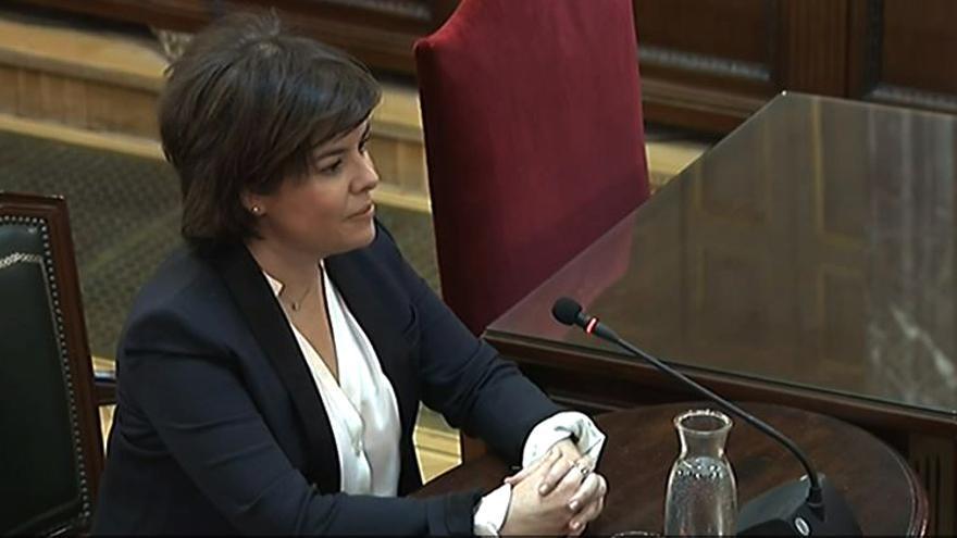 La exvicepresidenta del Gobierno, Soraya Saenz de Santamaría, durante su declaración como testigo en el juicio del procés.
