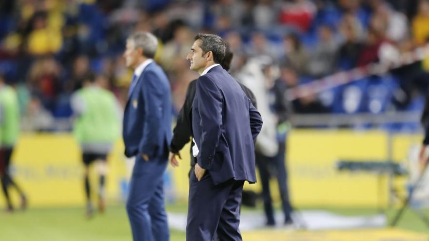 El entrenador del Athletic Club de Bilbao, Ernesto Valverde, en El Estadio de Gran Canaria.