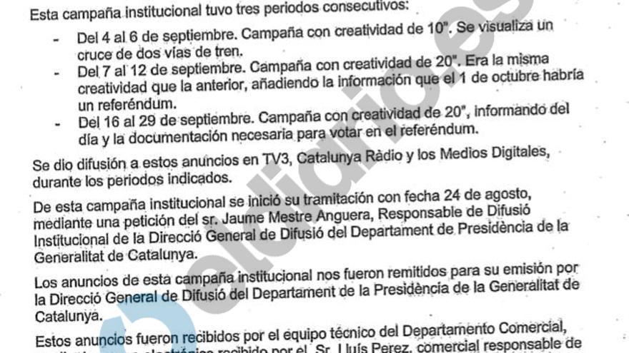 La presidenta de los medios públicos catalanes señaló a Mestre, que hoy se ha desentendido de los anuncios del 1-O