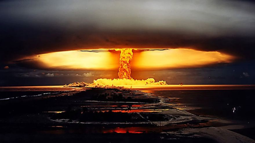 Prueba nuclear francesa en Polinesia en 1971.