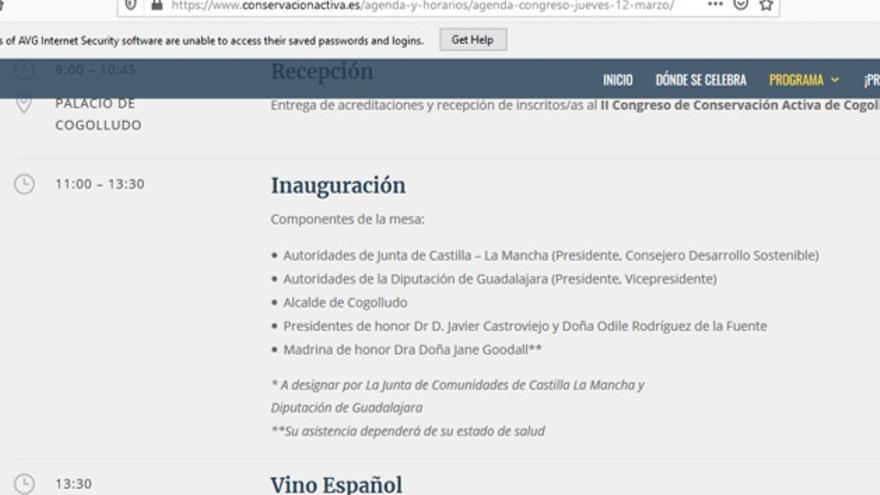 Captura de la web de Conservación Activa en la que se anunciaba la posible presencia de Goodall que ya ha sido modificada