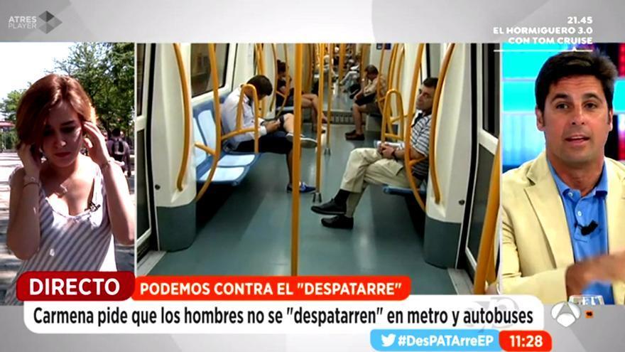 Fran Rivera y Arguiñano, dos visiones diferentes del 'manspreading' o despatarre en Antena 3