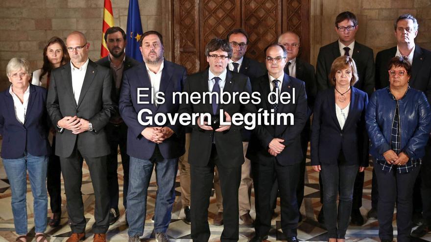Fotografía que aparecía en un primer momento en la web del Govern cesado, sin Vila pero todavía con sus piernas.