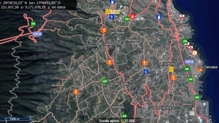 Imagen del cartografiado de La Palma.