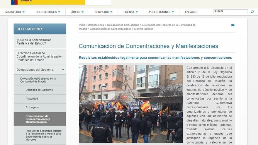 Captura de la web de la Delegación del Gobierno en Madrid.