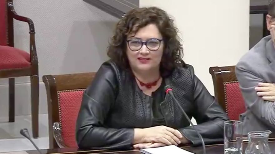 Guadalupe González Taño (GNC-CC) en una comisión de control de RTVC.