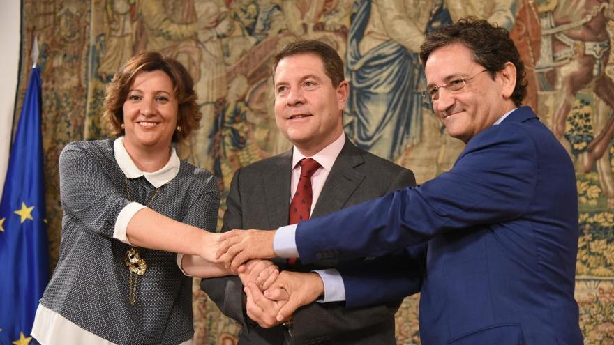 Patricia Franco, Emiliano García-Page y Aurelio Vázquez. FOTO: JCCM