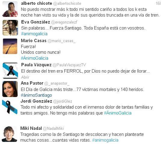 Los famosos muestran su apoyo por el trágico accidente de Santiago