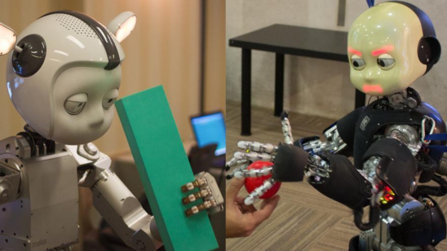 Simon e iCub, dos robots que manipulan objetos de aspecto aniñado (Foto: Jiuguang Wang y Lucía El Asri)