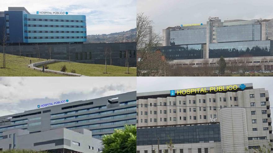 """Recreaciones de la propia Xunta de los carteles de """"hospital público"""" en cuatro de los diez centros de Vigo, Santiago, Ourense y Pontevedra"""