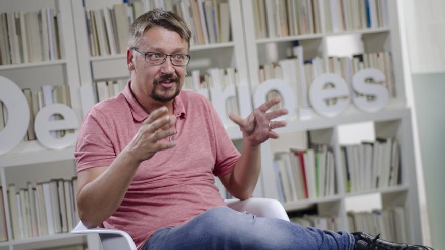 Xavier Domènech, durante la entrevista en la redacción de eldiario.es.