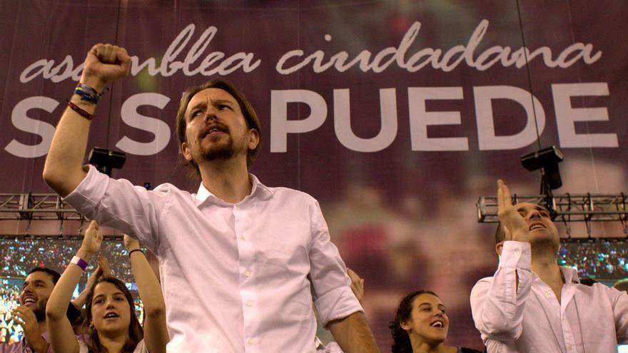 Pablo Iglesias durante su discurso en la Asamblea fundacional de Podemos celebrada en Vistalegre (Madrid). \ Marta Jara
