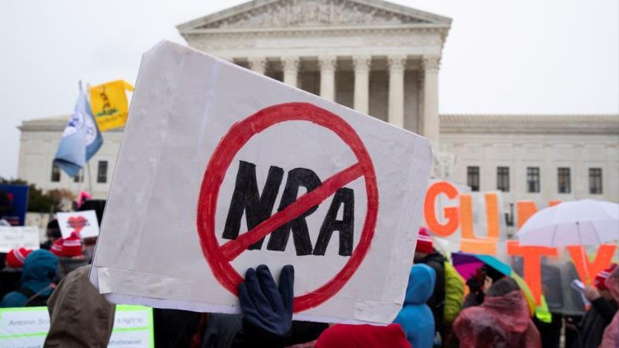 People for gun control laws rally outside the Supreme Court while the court hears oral arguments for the case New York State Rifle and Pistol Association Inc. v. City of New York, New York; in Washington, DC, USA, 02 December 2019.