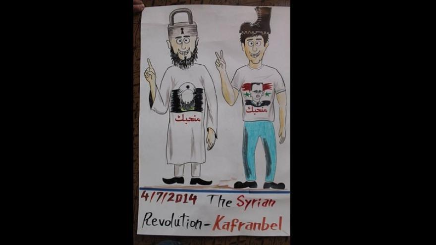 Caricatura creada en el pueblo sirio de Kafranbel, muestra a un adepto de ISIS junto a uno de Asad. Fuente: SyriaUntold