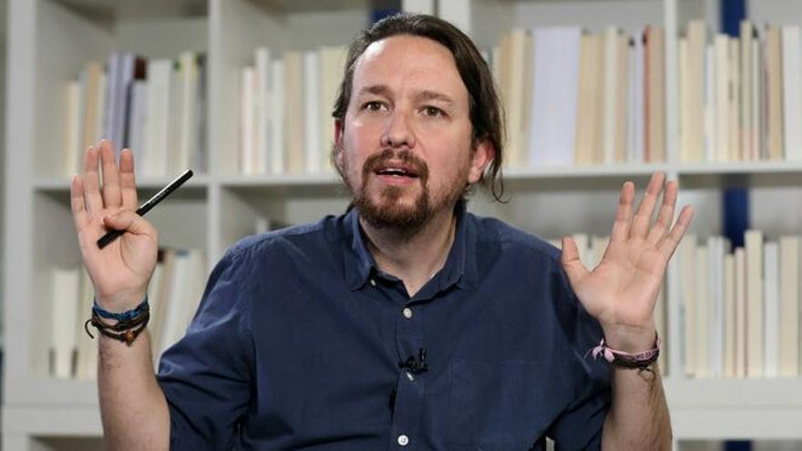 Pablo Iglesias en la redacción de eldiario.es