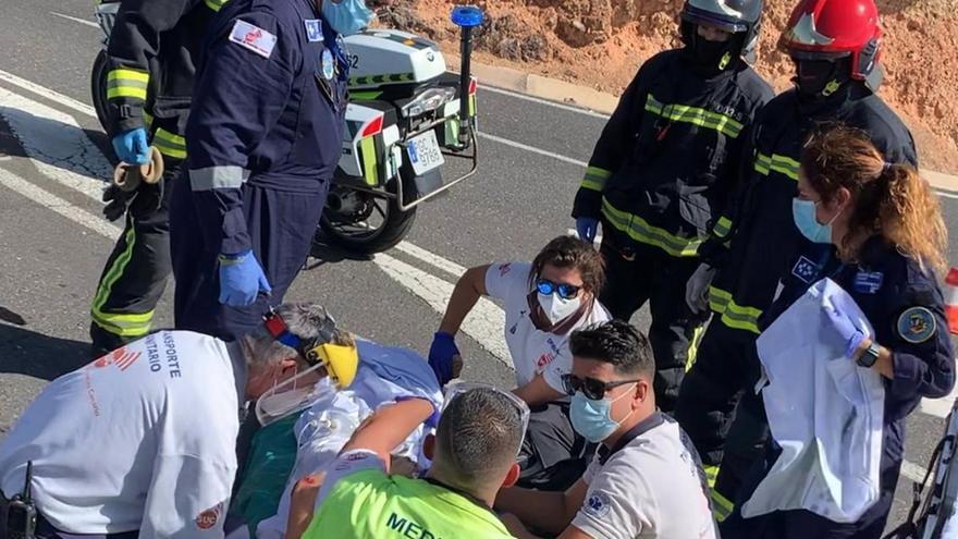 Un motorista resulta herido grave en un accidente en Gran Canaria