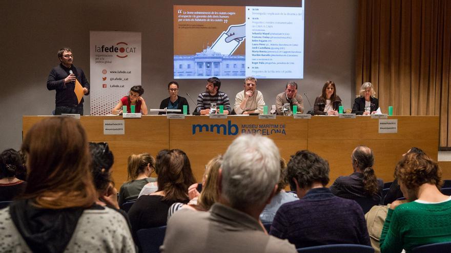 Roger Palà presenta l'acte Ciutat global i justícia global: debat electoral #municipals 2015 al Museu Marítim / ENRIC CATALÀ
