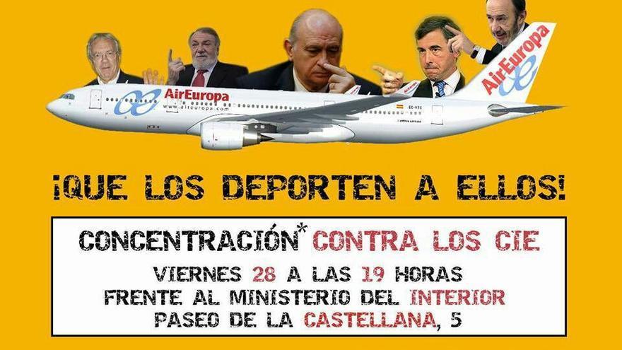 Cartel de la concentración contra los CIE de este viernes 28 de octubre.