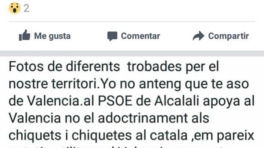 Uno de los comentarios realizados desde el perfil del PSOE de Alcalalí